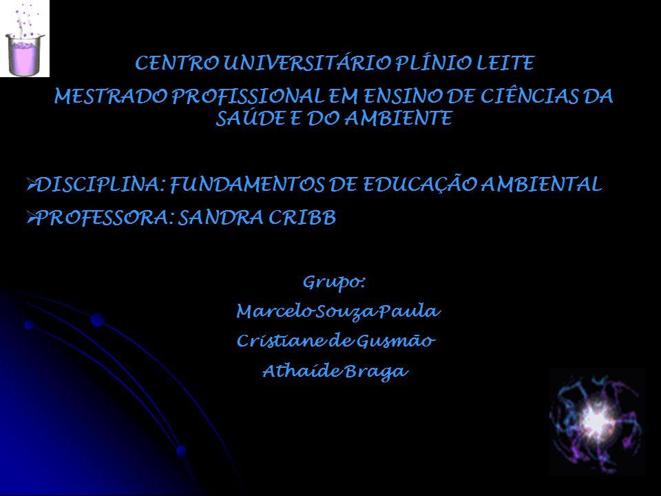 CENTRO UNIVERSITÁRIO PLÍNIO LEITE MESTRADO PROFISSIONAL EM ENSINO DE CIÊNCIAS DA SAÚDE E DO AMBIENTE DISCIPLINA: FUNDAMENTOS DE EDUCAÇÃO AMBIENTAL PRO