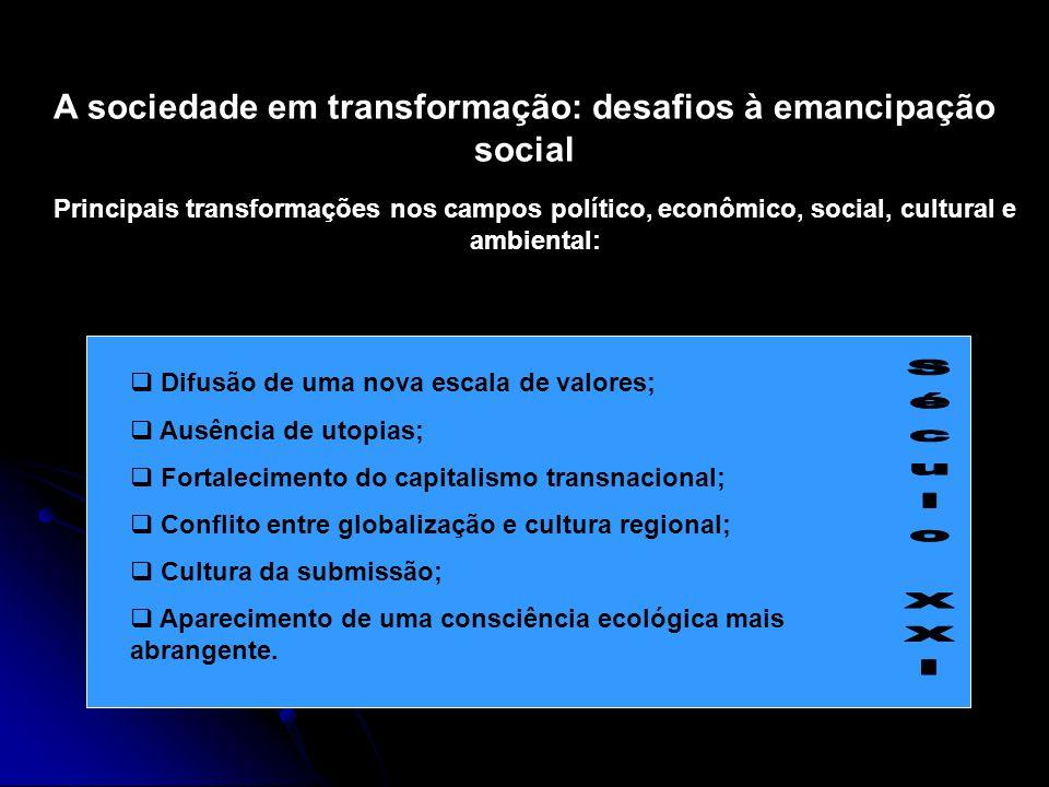 A sociedade em transformação: desafios à emancipação social Principais transformações nos campos político, econômico, social, cultural e ambiental: Di