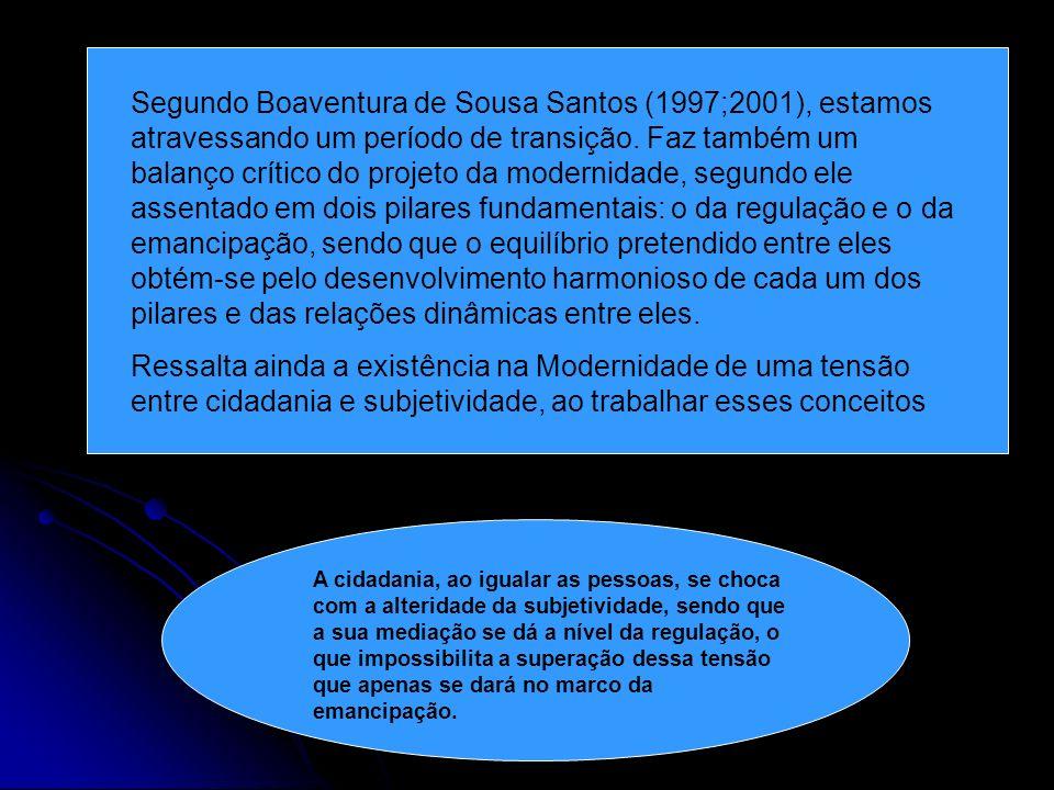 Segundo Boaventura de Sousa Santos (1997;2001), estamos atravessando um período de transição. Faz também um balanço crítico do projeto da modernidade,
