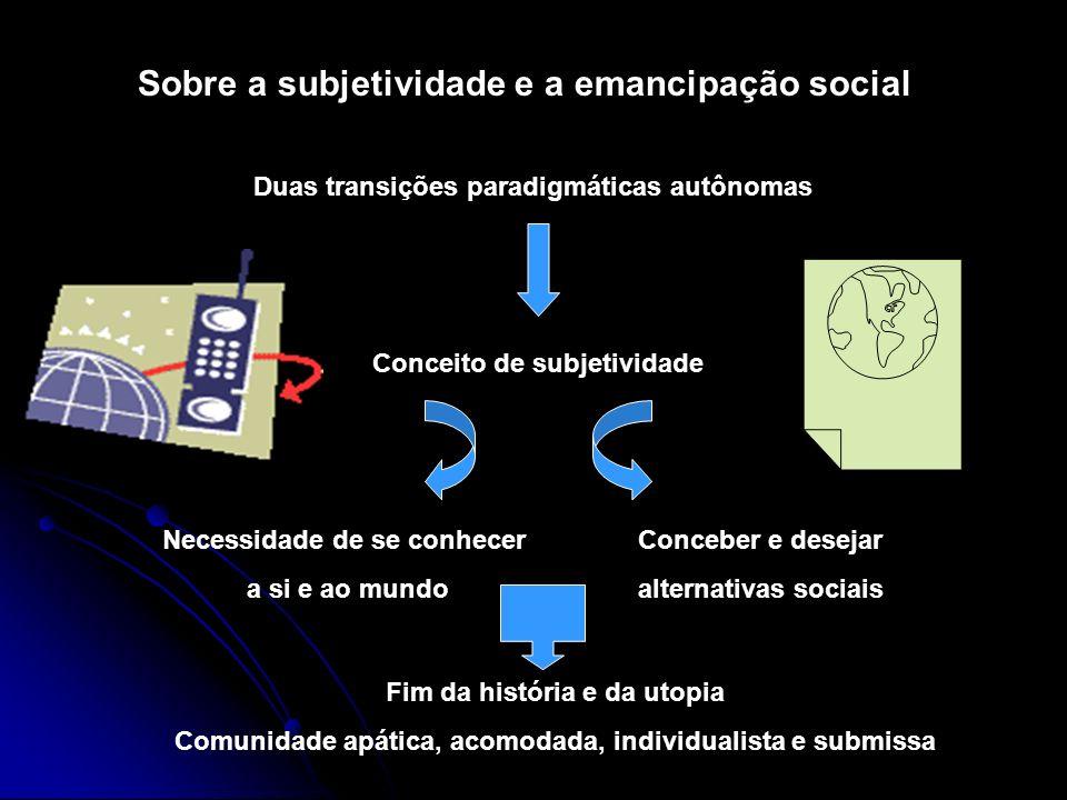 Sobre a subjetividade e a emancipação social Duas transições paradigmáticas autônomas Conceito de subjetividade Necessidade de se conhecer a si e ao m