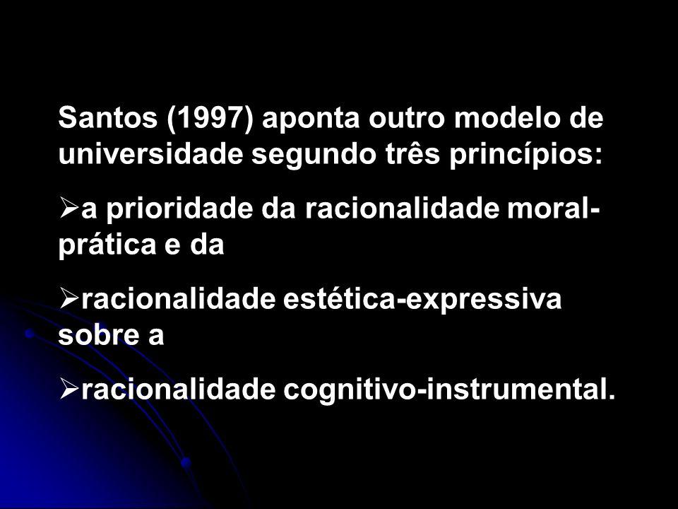 Santos (1997) aponta outro modelo de universidade segundo três princípios: a prioridade da racionalidade moral- prática e da racionalidade estética-ex