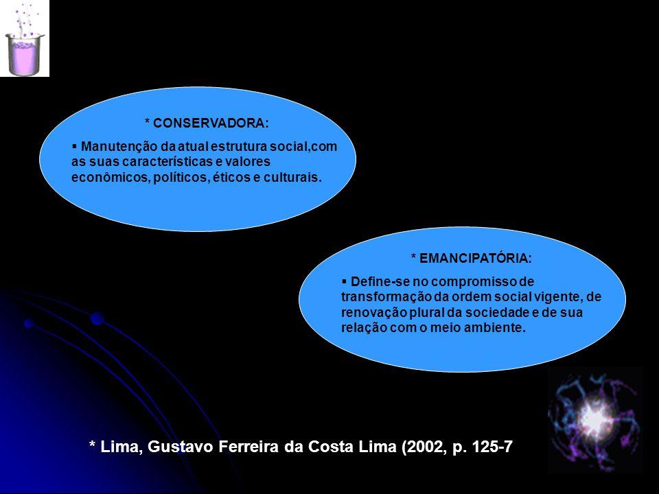 * CONSERVADORA: Manutenção da atual estrutura social,com as suas características e valores econômicos, políticos, éticos e culturais. * EMANCIPATÓRIA: