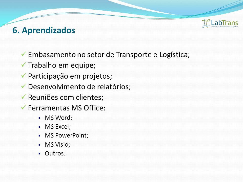 Embasamento no setor de Transporte e Logística; Trabalho em equipe; Participação em projetos; Desenvolvimento de relatórios; Reuniões com clientes; Fe