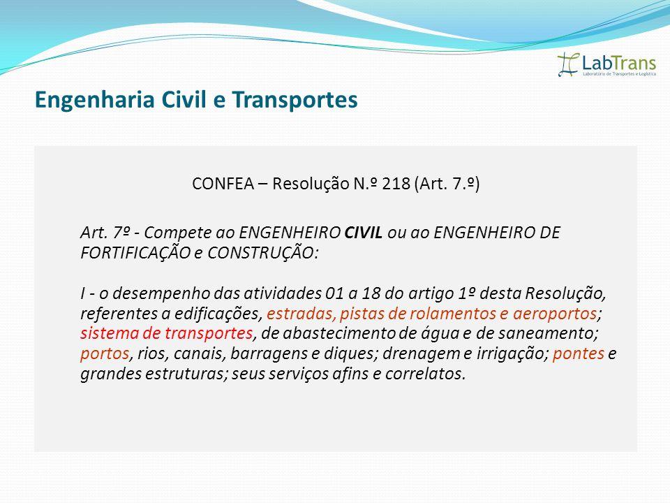 Engenharia Civil e Transportes CONFEA – Resolução N.º 218 (Art. 7.º) Art. 7º - Compete ao ENGENHEIRO CIVIL ou ao ENGENHEIRO DE FORTIFICAÇÃO e CONSTRUÇ