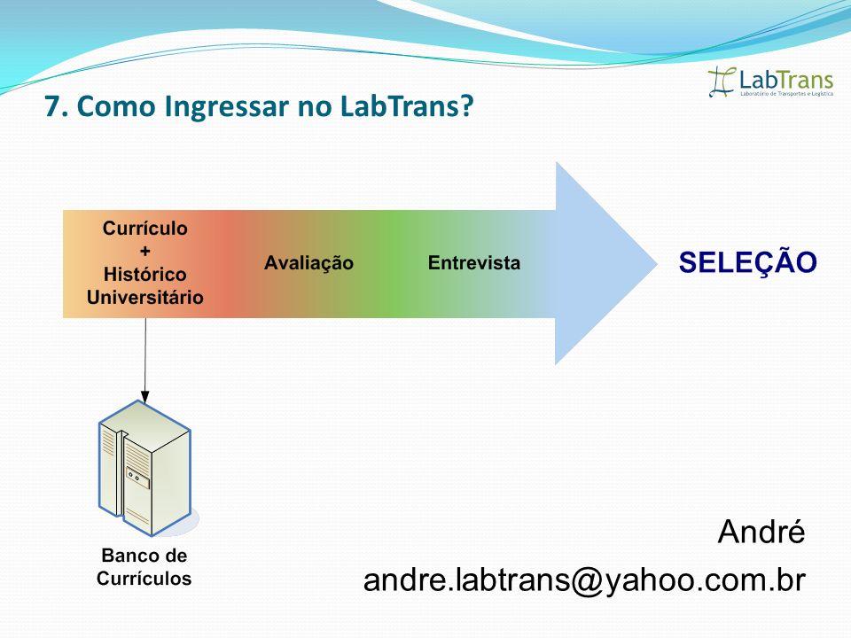 André andre.labtrans@yahoo.com.br 7. Como Ingressar no LabTrans?