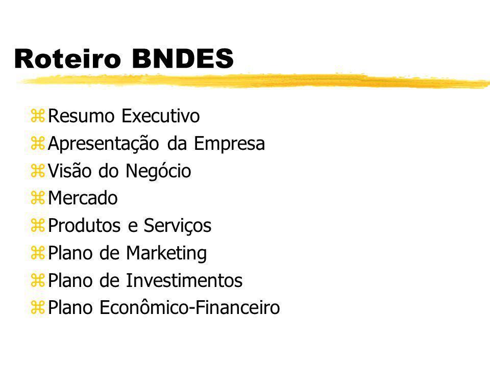Roteiro BNDES zResumo Executivo zApresentação da Empresa zVisão do Negócio zMercado zProdutos e Serviços zPlano de Marketing zPlano de Investimentos z