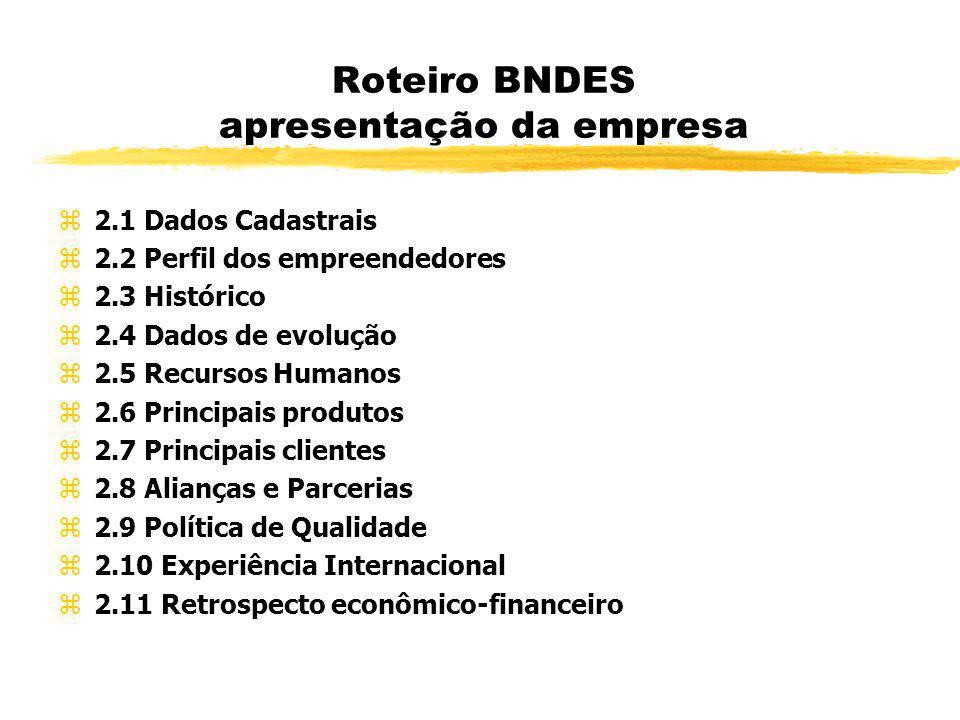 Roteiro BNDES apresentação da empresa z2.1 Dados Cadastrais z2.2 Perfil dos empreendedores z2.3 Histórico z2.4 Dados de evolução z2.5 Recursos Humanos