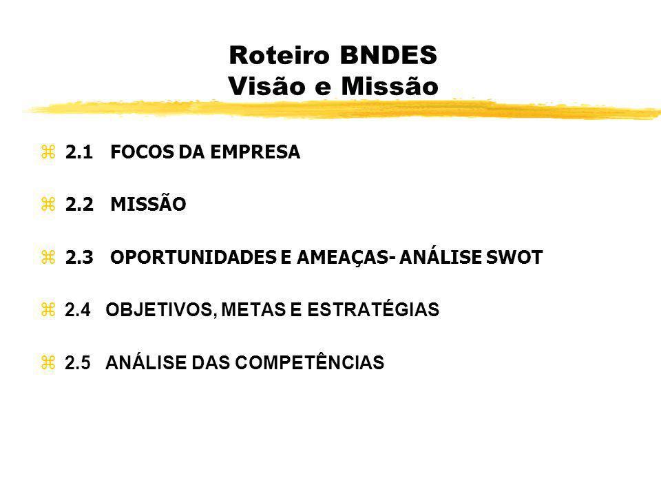 Roteiro BNDES Visão e Missão z 2.1 FOCOS DA EMPRESA z 2.2 MISSÃO z 2.3 OPORTUNIDADES E AMEAÇAS- ANÁLISE SWOT z 2.4 OBJETIVOS, METAS E ESTRATÉGIAS 2.5
