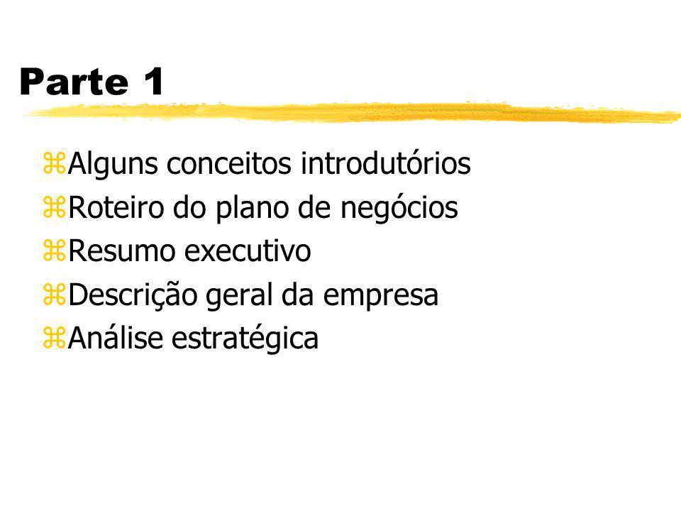 Parte 1 zAlguns conceitos introdutórios zRoteiro do plano de negócios zResumo executivo zDescrição geral da empresa zAnálise estratégica