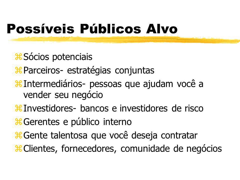 Possíveis Públicos Alvo zSócios potenciais zParceiros- estratégias conjuntas zIntermediários- pessoas que ajudam você a vender seu negócio zInvestidor