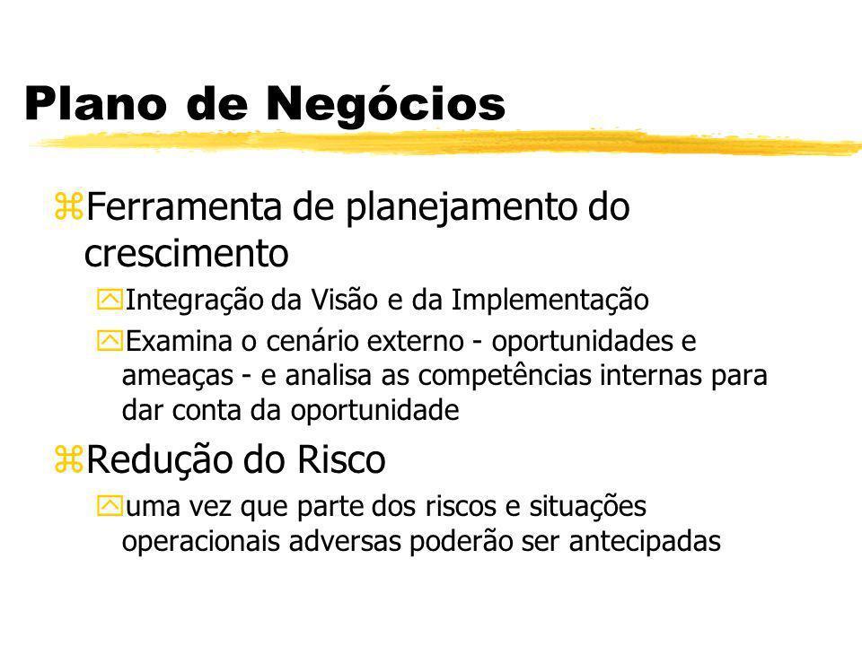 Plano de Negócios zFerramenta de planejamento do crescimento yIntegração da Visão e da Implementação yExamina o cenário externo - oportunidades e amea