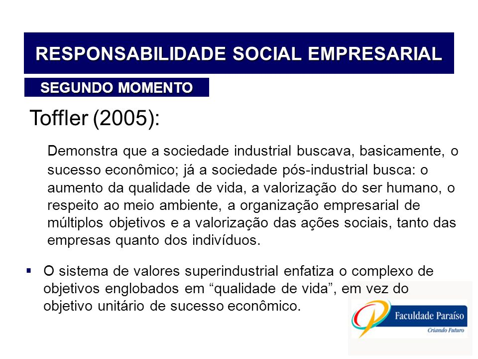 RESPONSABILIDADE SOCIAL EMPRESARIAL Toffler (2005): Demonstra que a sociedade industrial buscava, basicamente, o sucesso econômico; já a sociedade pós