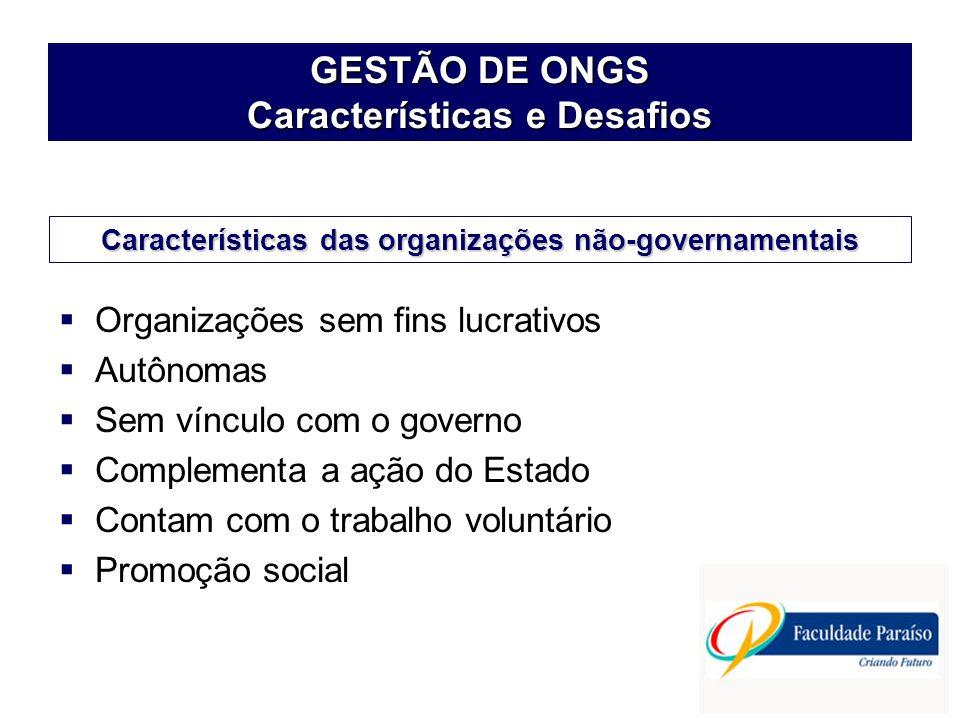 GESTÃO DE ONGS Características e Desafios Organizações sem fins lucrativos Autônomas Sem vínculo com o governo Complementa a ação do Estado Contam com