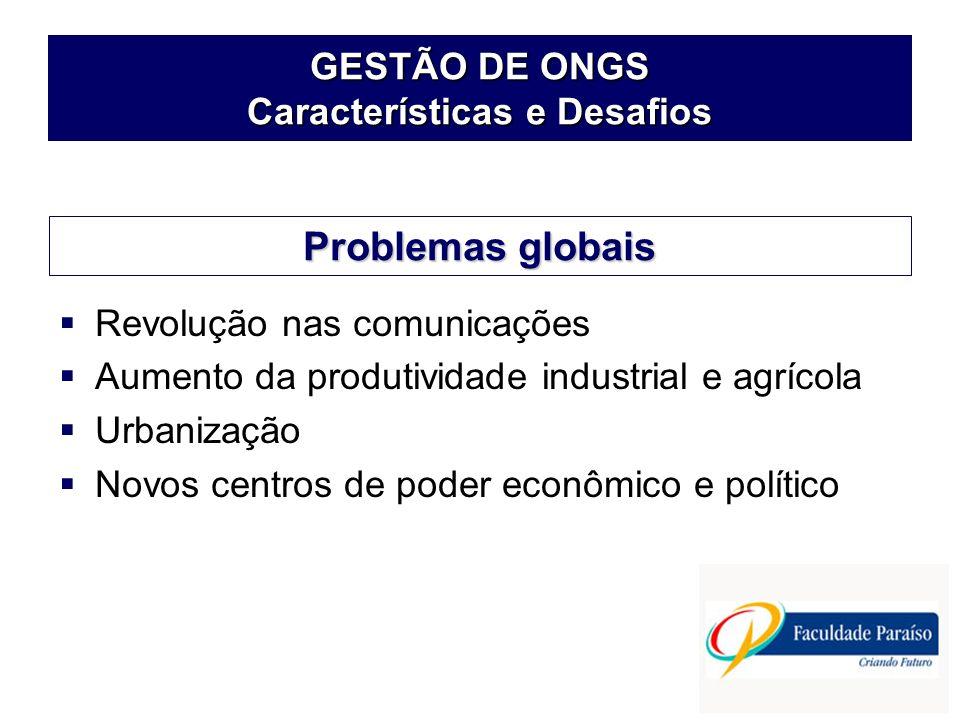 GESTÃO DE ONGS Características e Desafios Revolução nas comunicações Aumento da produtividade industrial e agrícola Urbanização Novos centros de poder