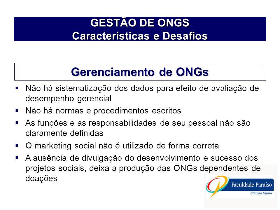 GESTÃO DE ONGS Características e Desafios Não há sistematização dos dados para efeito de avaliação de desempenho gerencial Não há normas e procediment