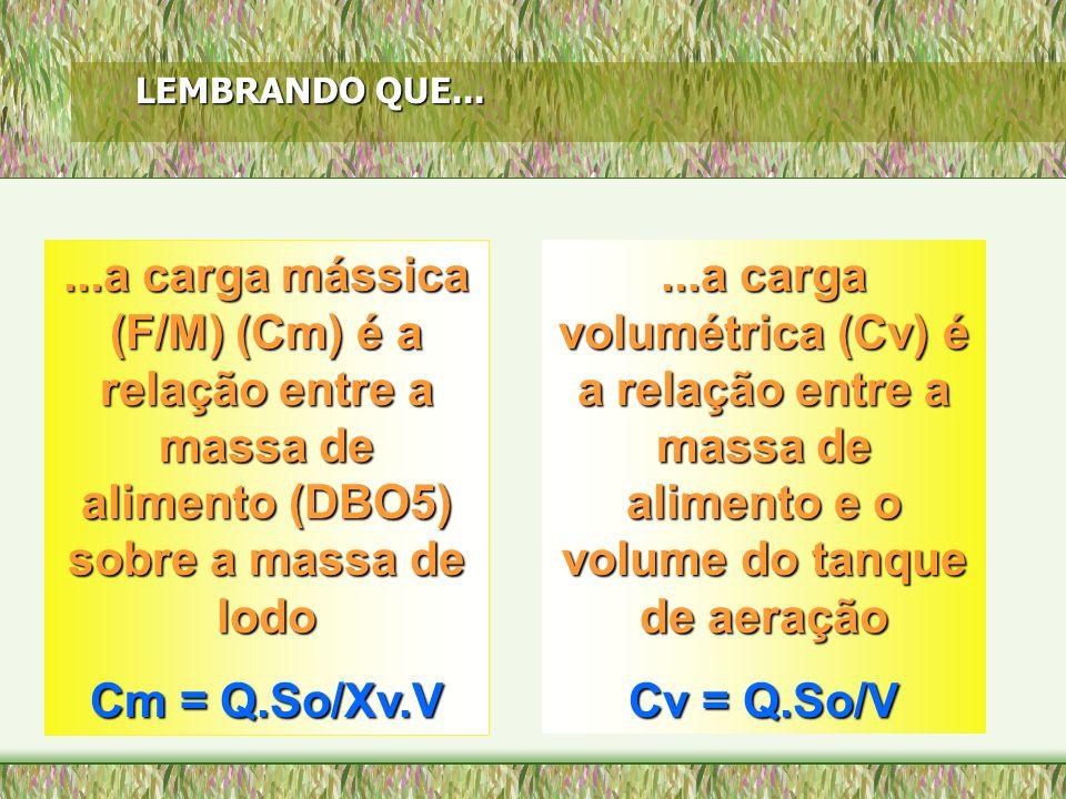 LEMBRANDO QUE......a carga mássica (F/M) (Cm) é a relação entre a massa de alimento (DBO5) sobre a massa de lodo Cm = Q.So/Xv.V...a carga volumétrica