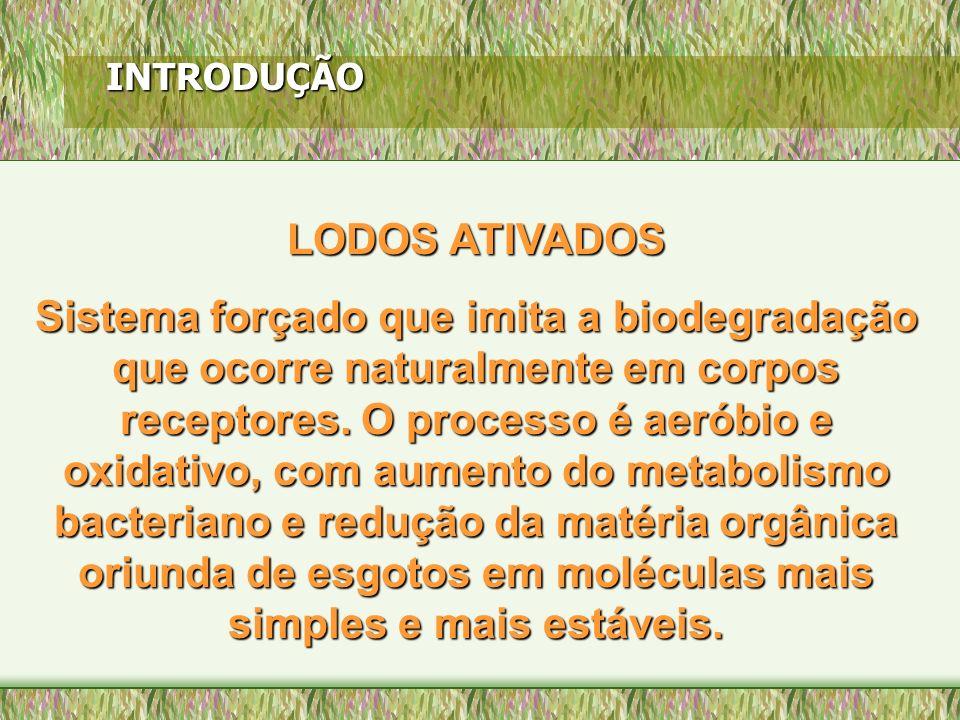 INTRODUÇÃO LODOS ATIVADOS Sistema forçado que imita a biodegradação que ocorre naturalmente em corpos receptores. O processo é aeróbio e oxidativo, co