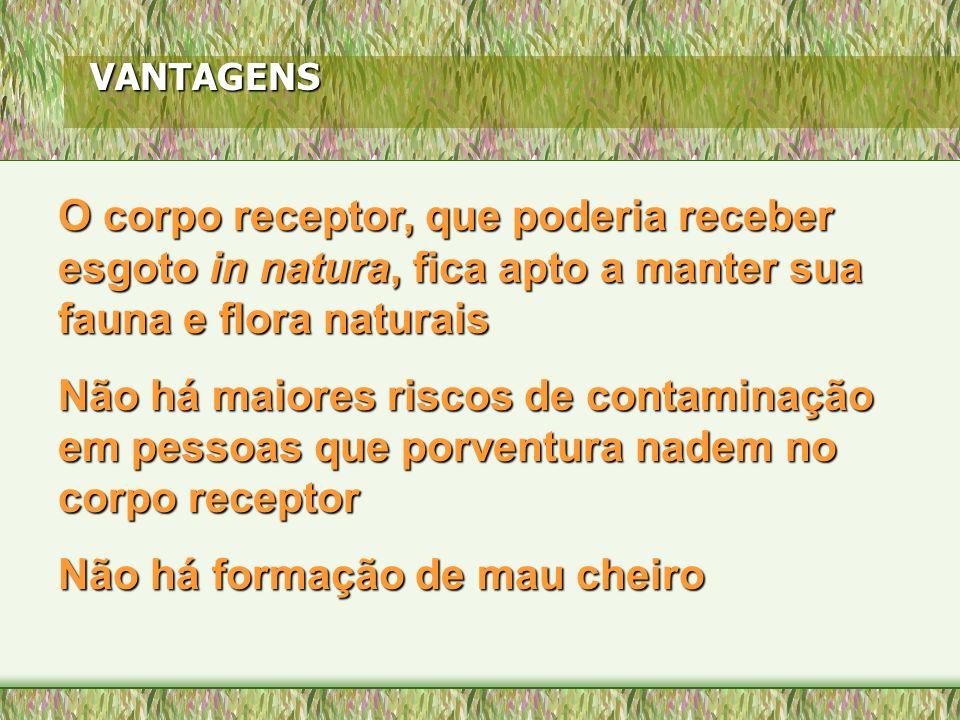 VANTAGENS O corpo receptor, que poderia receber esgoto in natura, natura, fica apto a manter sua fauna e flora naturais Não há maiores riscos de conta