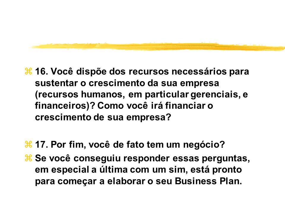 z16. Você dispõe dos recursos necessários para sustentar o crescimento da sua empresa (recursos humanos, em particular gerenciais, e financeiros)? Com