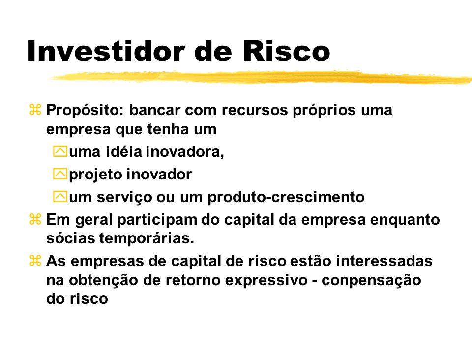Investidor de Risco zPropósito: bancar com recursos próprios uma empresa que tenha um yuma idéia inovadora, yprojeto inovador yum serviço ou um produt