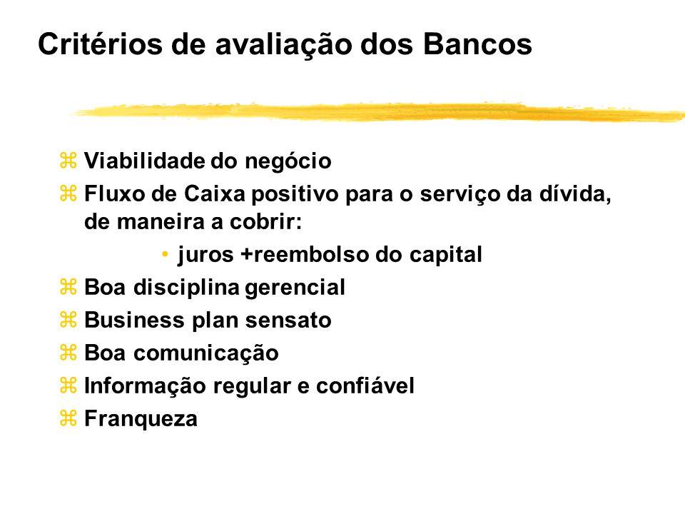 Critérios de avaliação dos Bancos zViabilidade do negócio zFluxo de Caixa positivo para o serviço da dívida, de maneira a cobrir: juros +reembolso do