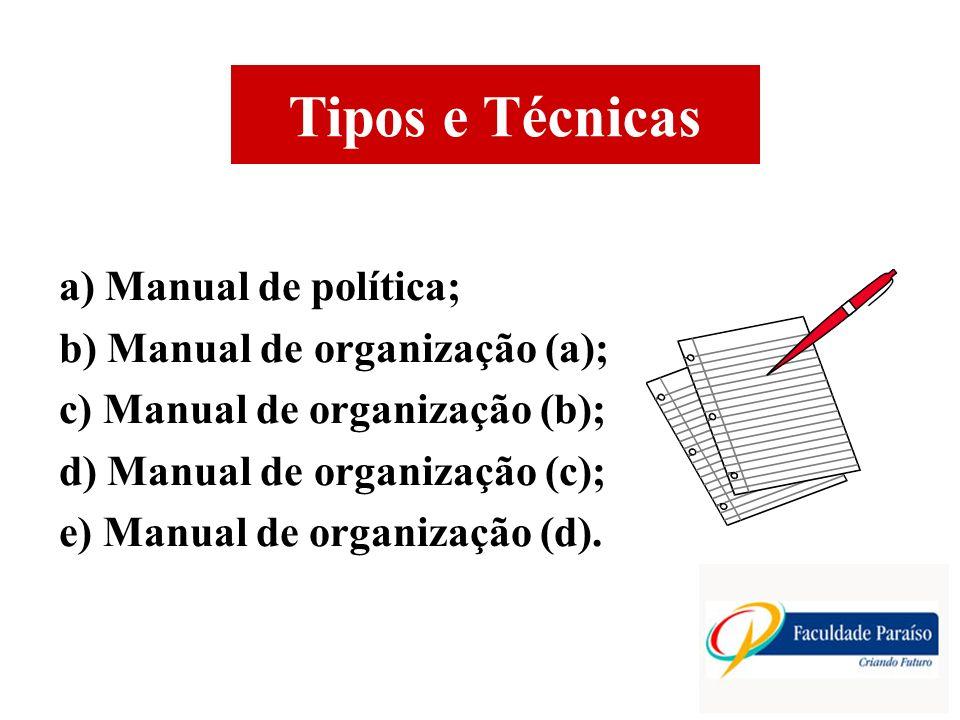 Tipos e Técnicas a) Manual de política; b) Manual de organização (a); c) Manual de organização (b); d) Manual de organização (c); e) Manual de organização (d).