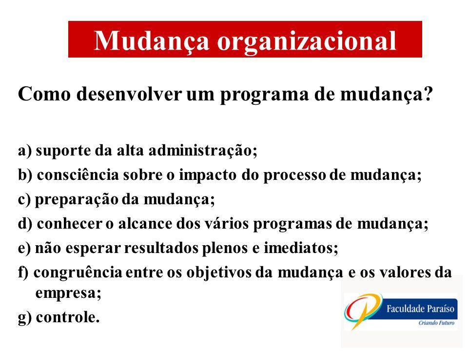 Mudança organizacional Como desenvolver um programa de mudança.