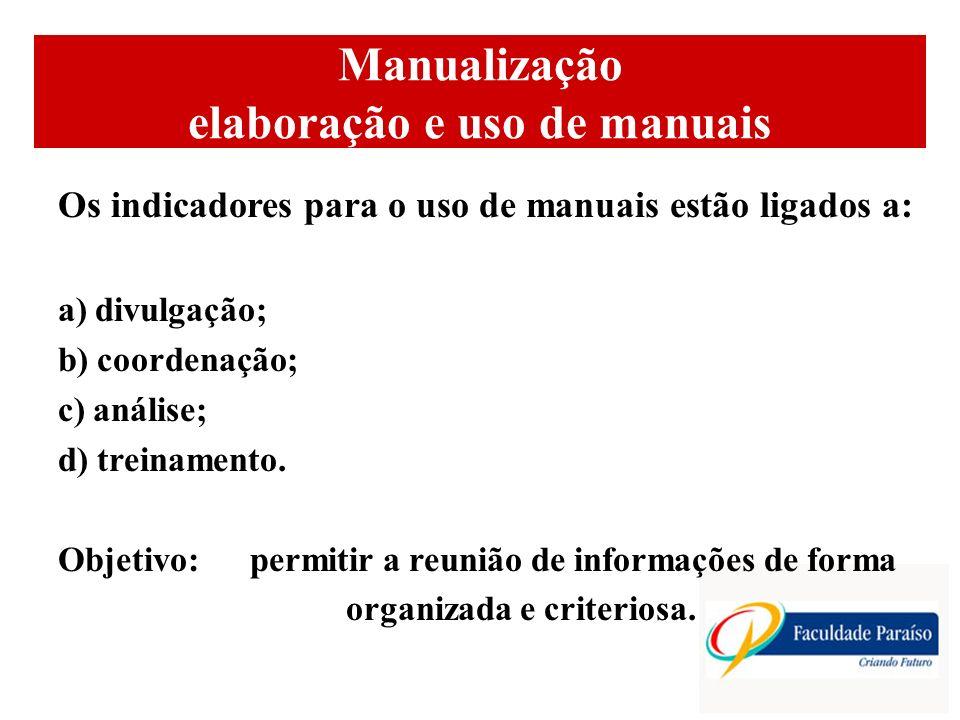 Manualização elaboração e uso de manuais Os indicadores para o uso de manuais estão ligados a: a) divulgação; b) coordenação; c) análise; d) treinamento.