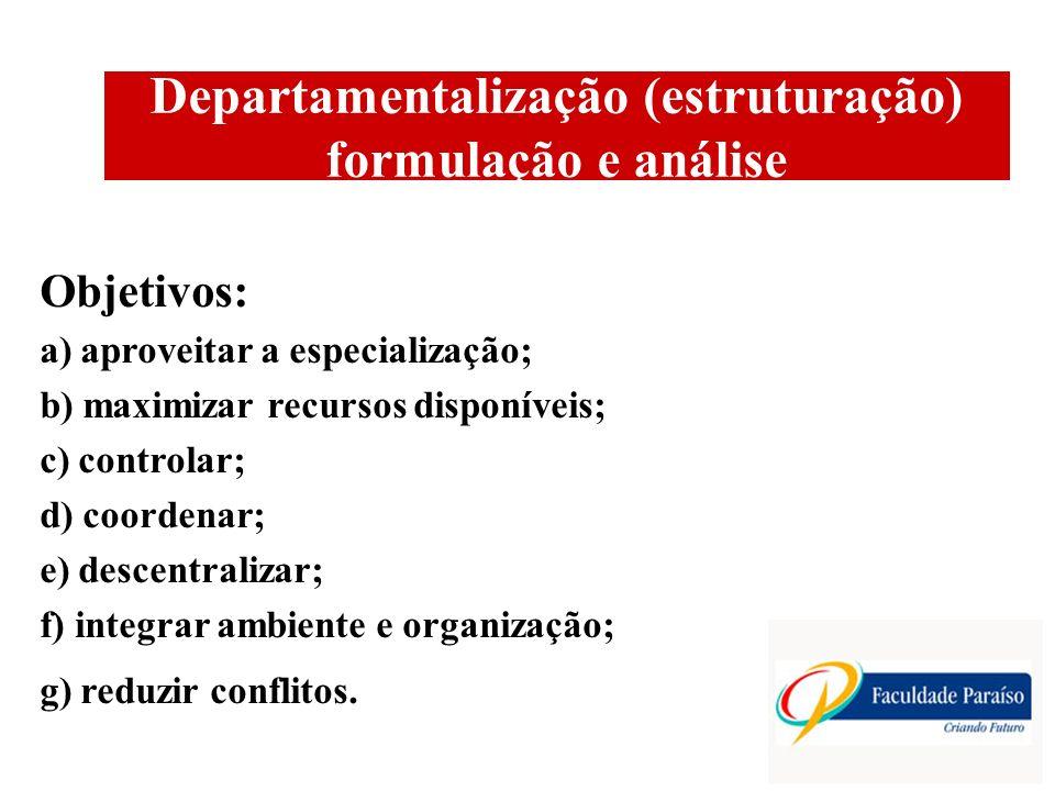 Departamentalização (estruturação) formulação e análise Objetivos: a) aproveitar a especialização; b) maximizar recursos disponíveis; c) controlar; d) coordenar; e) descentralizar; f) integrar ambiente e organização; g) reduzir conflitos.