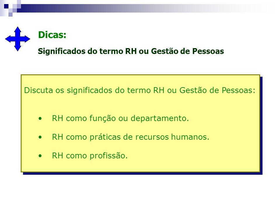Dicas: Significados do termo RH ou Gestão de Pessoas Discuta os significados do termo RH ou Gestão de Pessoas: RH como função ou departamento. RH como