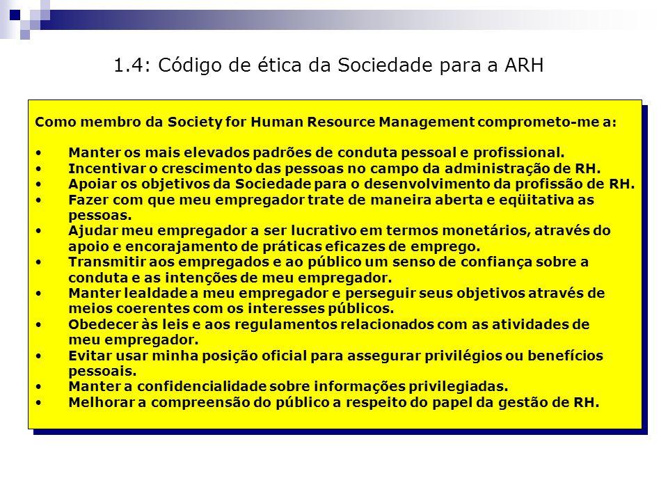 Como membro da Society for Human Resource Management comprometo-me a: Manter os mais elevados padrões de conduta pessoal e profissional. Incentivar o