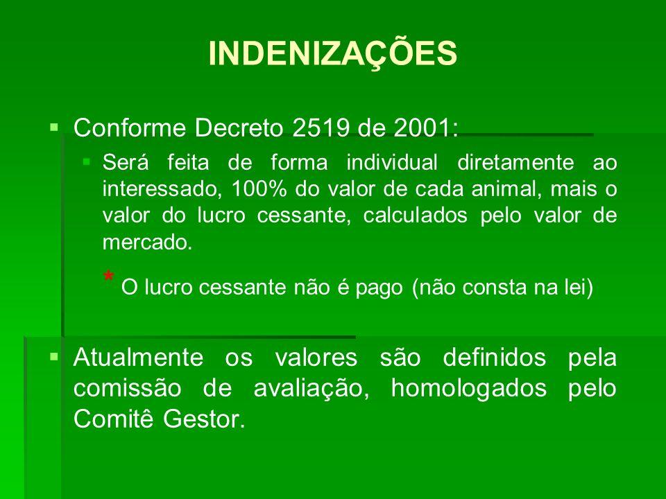 INDENIZAÇÕES Conforme Decreto 2519 de 2001: Será feita de forma individual diretamente ao interessado, 100% do valor de cada animal, mais o valor do l