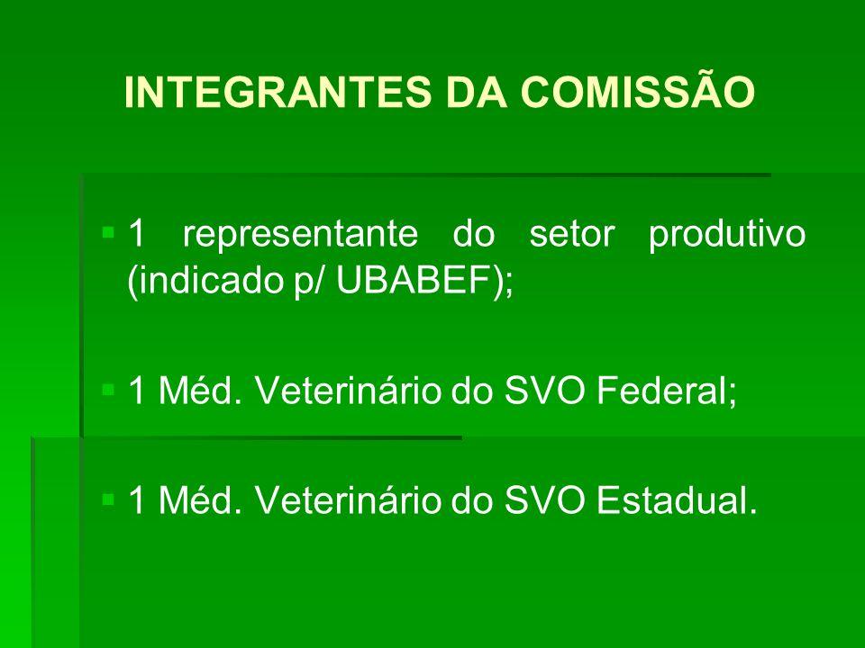 INTEGRANTES DA COMISSÃO 1 representante do setor produtivo (indicado p/ UBABEF); 1 Méd. Veterinário do SVO Federal; 1 Méd. Veterinário do SVO Estadual