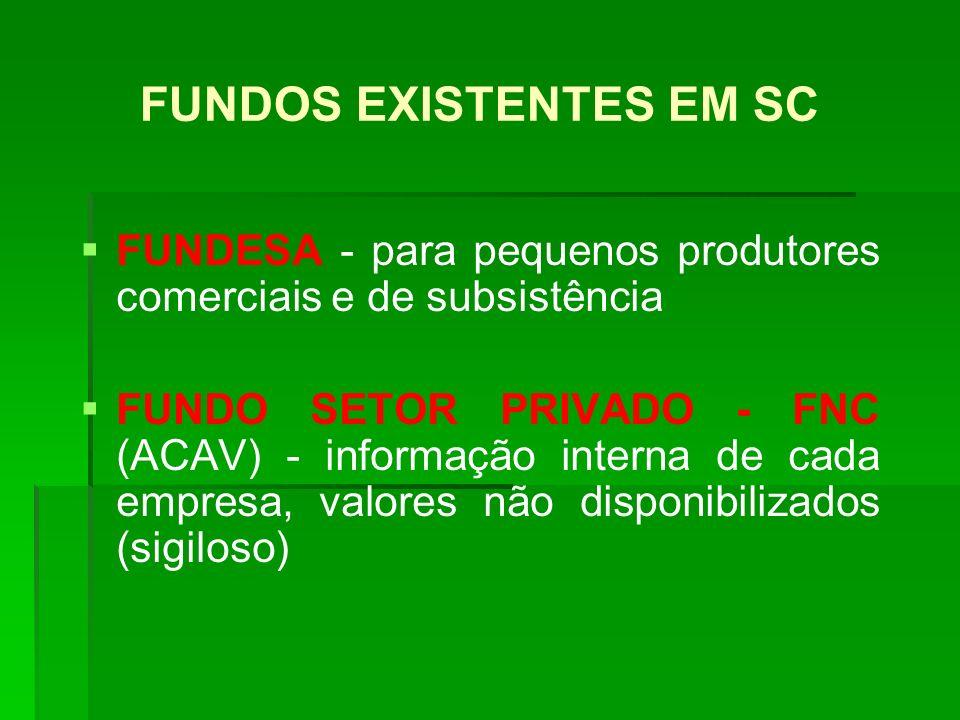 FUNDOS EXISTENTES EM SC FUNDESA - para pequenos produtores comerciais e de subsistência FUNDO SETOR PRIVADO - FNC (ACAV) - informação interna de cada