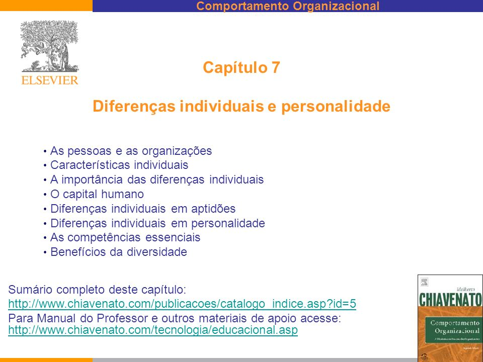 Comportamento Organizacional Capítulo 7 Diferenças individuais e personalidade As pessoas e as organizações Características individuais A importância