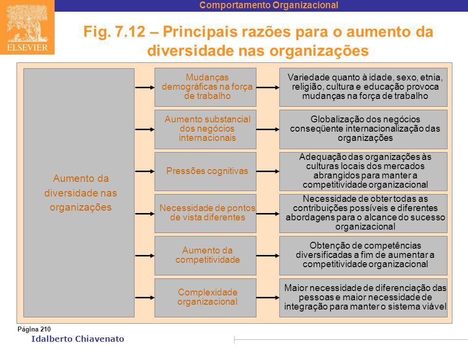 Comportamento Organizacional Idalberto Chiavenato Fig. 7.12 – Principais razões para o aumento da diversidade nas organizações Página 210 Mudanças dem