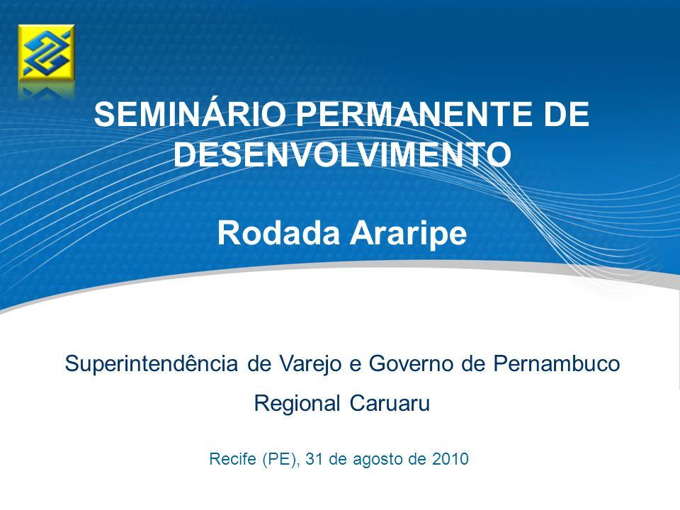 Recife (PE), 31 de agosto de 2010 Superintendência de Varejo e Governo de Pernambuco Regional Caruaru SEMINÁRIO PERMANENTE DE DESENVOLVIMENTO Rodada A