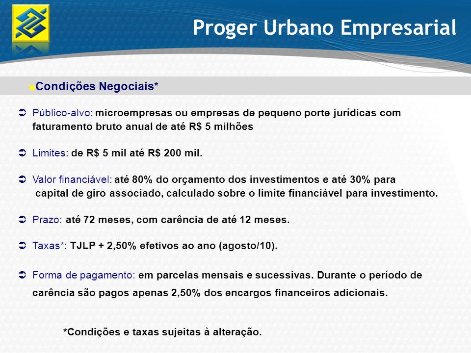 Público-alvo: microempresas ou empresas de pequeno porte jurídicas com faturamento bruto anual de até R$ 5 milhões Limites: de R$ 5 mil até R$ 200 mil