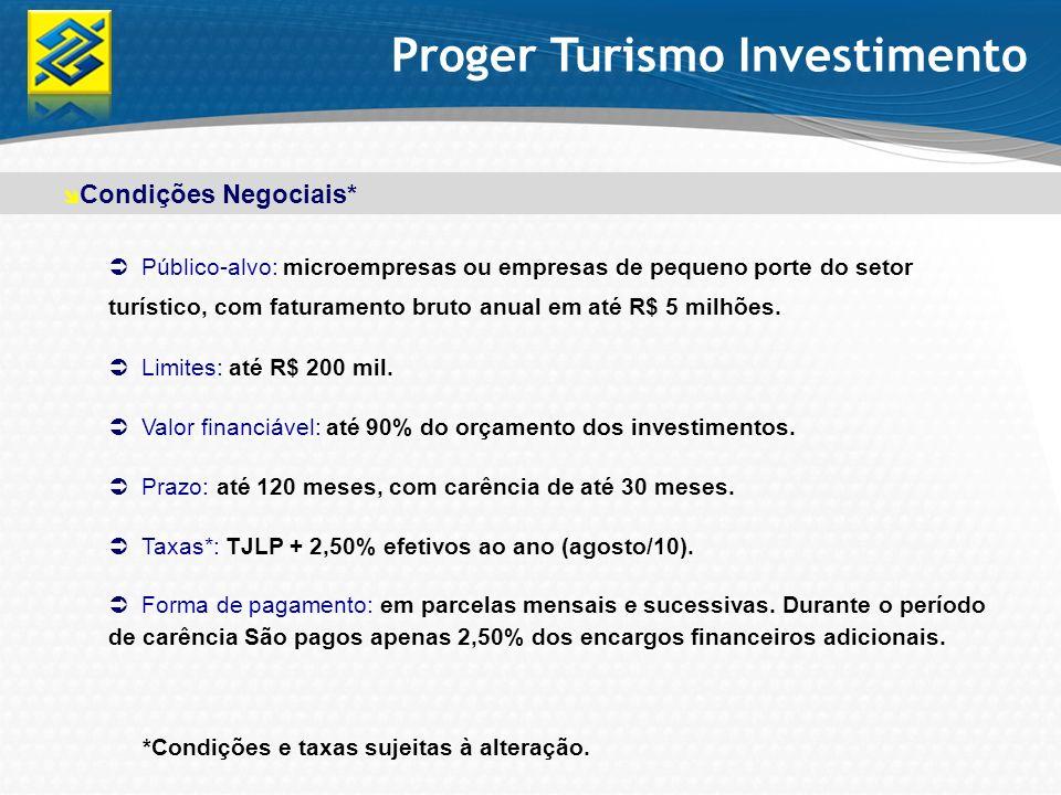 Público-alvo: microempresas ou empresas de pequeno porte do setor turístico, com faturamento bruto anual em até R$ 5 milhões. Limites: até R$ 200 mil.
