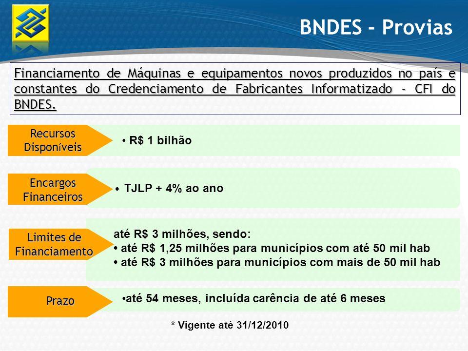 BNDES - Provias Financiamento de Máquinas e equipamentos novos produzidos no país e constantes do Credenciamento de Fabricantes Informatizado - CFI do