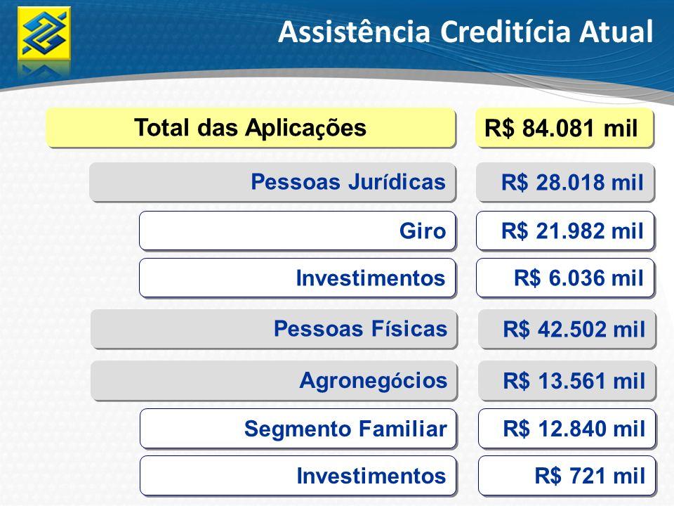 Assistência Creditícia Atual Total das Aplica ç ões R$ 84.081 mil Pessoas Jur í dicas R$ 28.018 mil Investimentos R$ 6.036 mil Agroneg ó cios R$ 13.56