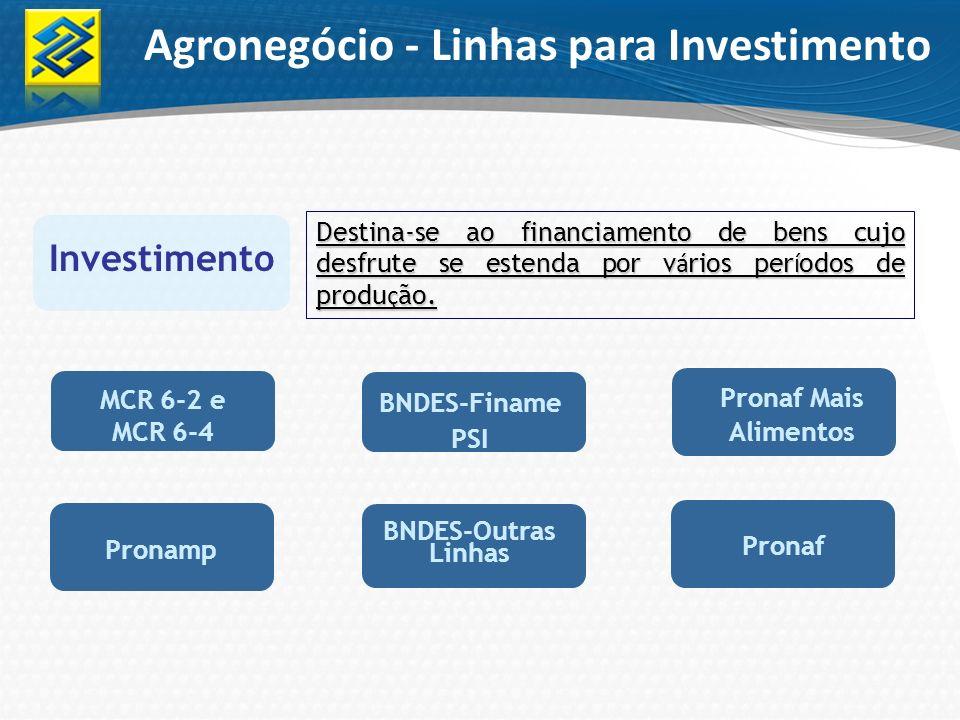 Investimento Destina-se ao financiamento de bens cujo desfrute se estenda por v á rios per í odos de produ ç ão. Agronegócio - Linhas para Investiment