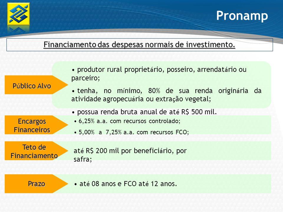 Financiamento das despesas normais de investimento. Pronamp P ú blico Alvo Encargos Financeiros 6,25% a.a. com recursos controlado; 5,00% a 7,25% a.a.