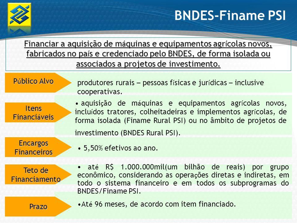 Financiar a aquisi ç ão de m á quinas e equipamentos agr í colas novos, fabricados no pa í s e credenciado pelo BNDES, de forma isolada ou associados