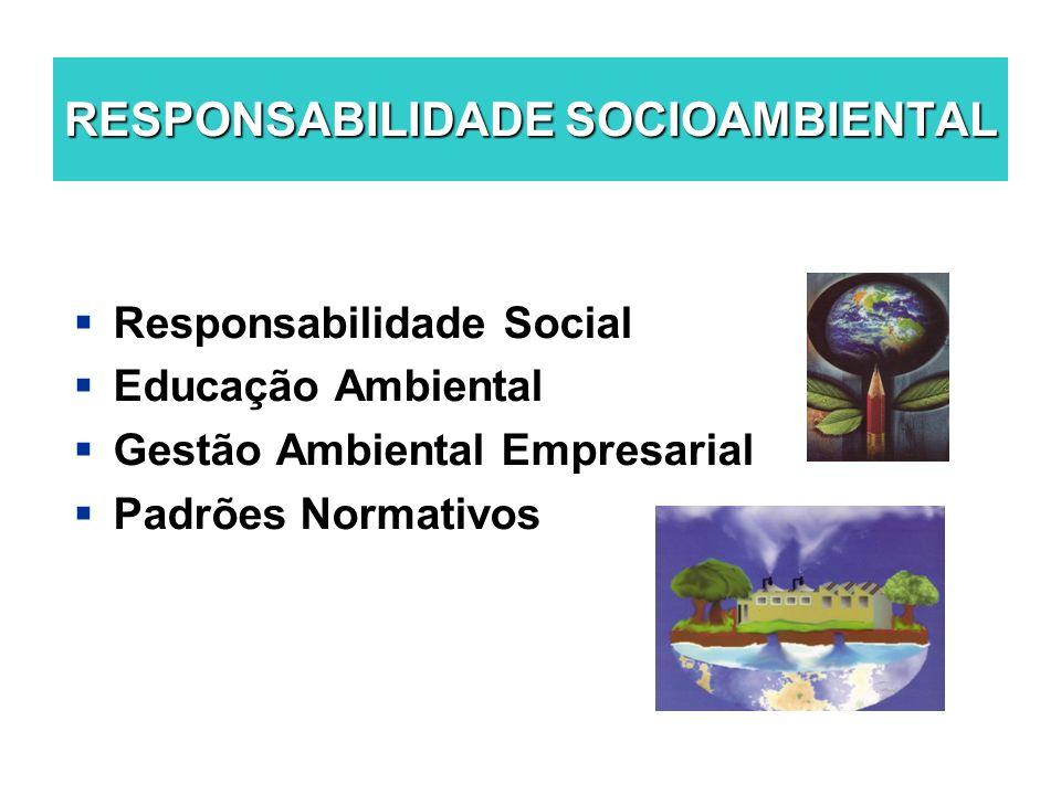 RESPONSABILIDADE SOCIOAMBIENTAL Responsabilidade Social Educação Ambiental Gestão Ambiental Empresarial Padrões Normativos