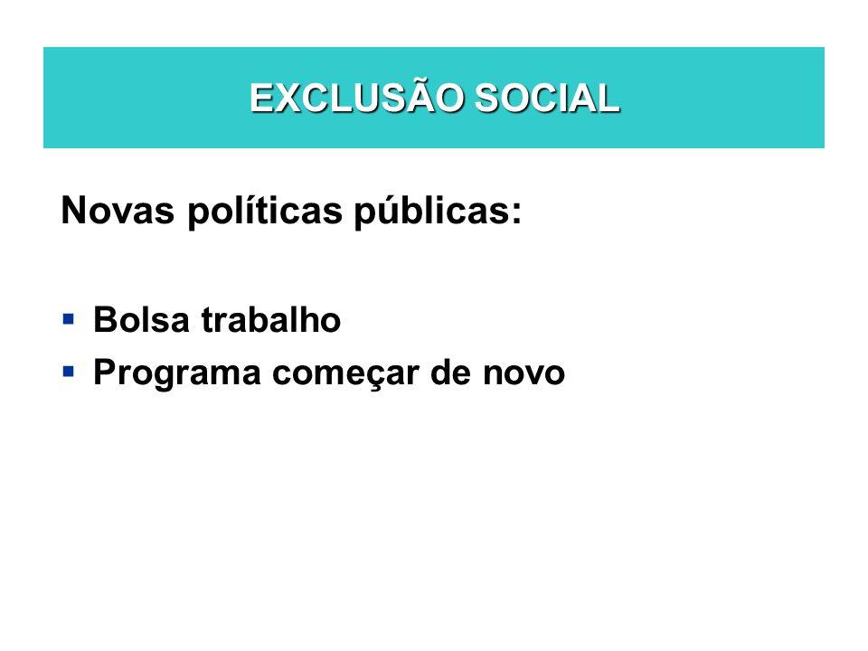 EXCLUSÃO SOCIAL Novas políticas públicas: Bolsa trabalho Programa começar de novo