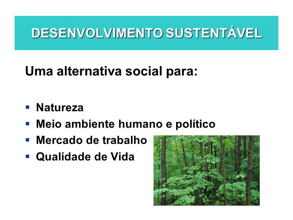DESENVOLVIMENTO SUSTENTÁVEL Uma alternativa social para: Natureza Meio ambiente humano e político Mercado de trabalho Qualidade de Vida