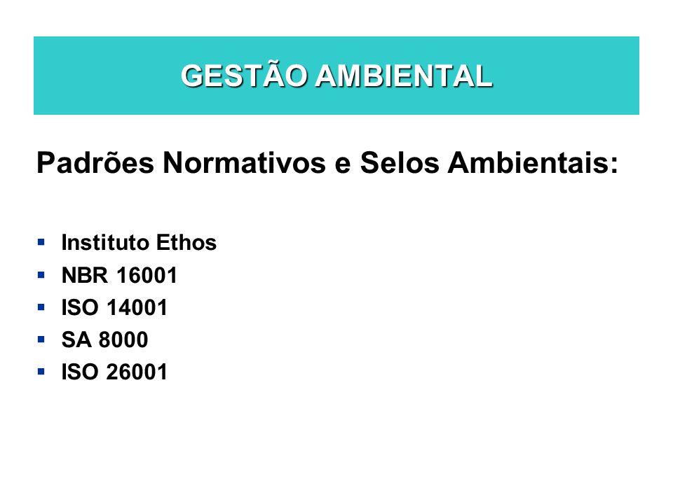 GESTÃO AMBIENTAL Padrões Normativos e Selos Ambientais: Instituto Ethos NBR 16001 ISO 14001 SA 8000 ISO 26001