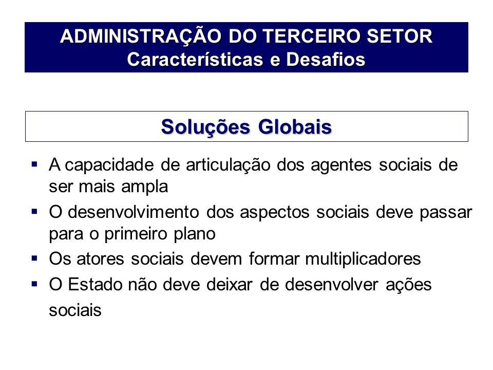 ADMINISTRAÇÃO DO TERCEIRO SETOR Características e Desafios A capacidade de articulação dos agentes sociais de ser mais ampla O desenvolvimento dos asp