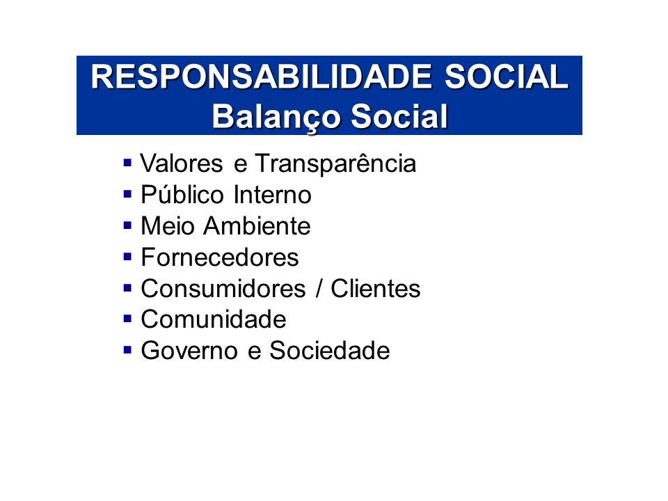 RESPONSABILIDADE SOCIAL Balanço Social Valores e Transparência Público Interno Meio Ambiente Fornecedores Consumidores / Clientes Comunidade Governo e